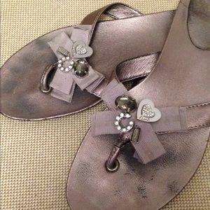 Coach metallic silver leather sandals size 8